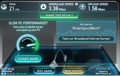 низкая скорость интернета замер спидтест
